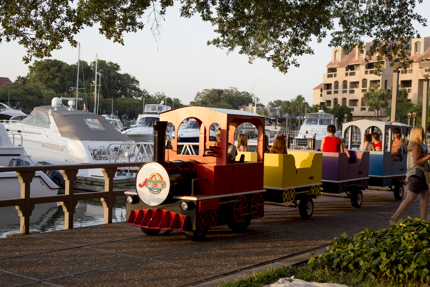 Bluffton's Kidz Play party rental company now has a train ride around Shelter Cove Harbour available during HarbourFest. Photo by Nicolette Kay.