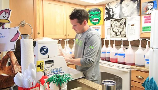 Chris Suddoth making snow cones